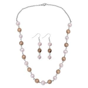 Jewelry - Freshwater Pearl & Gold Beads Necklace & Earrings